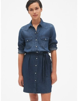 Denim Tie Waist Western Shirtdress by Gap