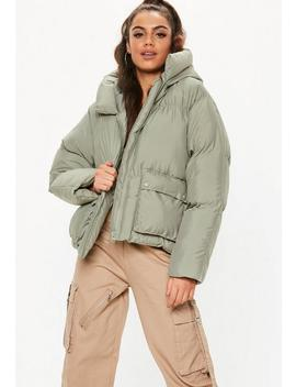 Green Oversized Hooded Ultimate Puffer Jacket by Missguided