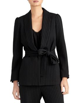 Pinstripe Puff Sleeve Belted Blazer by Rachel Roy Collection