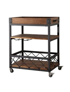 Brown Mobile Serving Cart With Removable Tray Top by Pier1 Imports