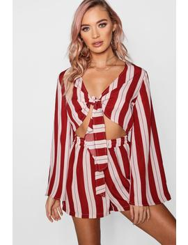 Lydia Tie Front Flare Sleeve Striped Playsuit by Boohoo