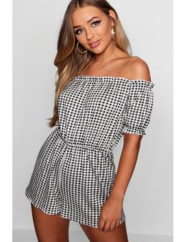 Gingham Off The Shoulder Gypsy Style Playsuit by Boohoo