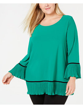 Plus Size Knit Pleated Hem Top, Created For Macy's by Alfani
