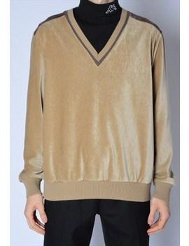 Vintage 90s Beige Velvet Minimalist V Neck Sweatshirt by Kaleidoo
