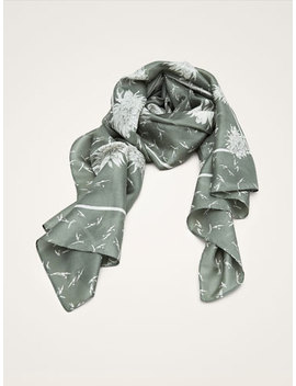 Floral Print 100% Silk Scarf by Massimo Dutti