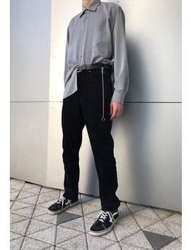 Vintage 90s Grey Minimalist Long Sleeve Shirt by Kaleidoo