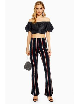 Striped Velvet Flares by Topshop
