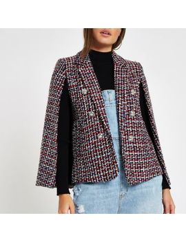 Dark Red Boucle Cape Sleeve Jacket by River Island