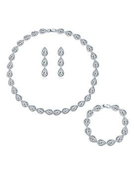 Masop Silver Tone Cz Cubic Zirconia Pear Shape Teardrop Choker Necklace Bracelets Earrings Jewelry Set by Masop Vogu