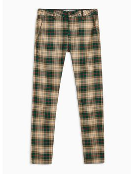 Green, Red And Stone Check Trousers by Topman