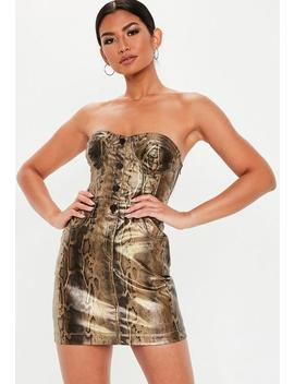 Brown Coated Snake Print Denim Mini Dress by Missguided