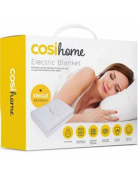 Premium Comfort Single Electric Blanket   Control With 3 Heat Settings, Polyester, White by Cosi Home