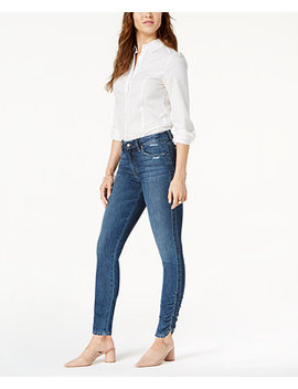 The Icon Mid Rise Skinny Ankle Jeans With Ruched Hem by Joe's Jeans