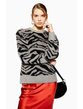 Zebra Print Jumper by Topshop