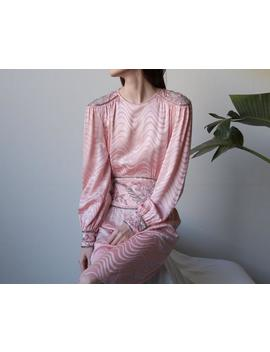Pink Silk Charmeuse Beaded Cocktail Dress / Poet Sleeve Cummerbund Dress / S / 1757d by Etsy
