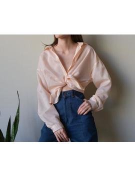 70s Pastel Peach Top / Cotton Blend Button Down Top / S /M /  3396t / B18 by Etsy