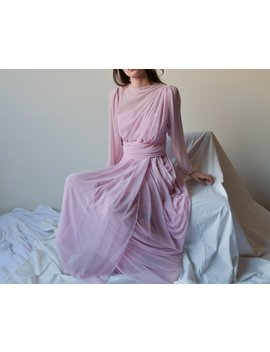 Pink Silk Chiffon Grecian Gown / 70s Sheer Draped Floor Length Evening Dress / S / 1116d by Etsy