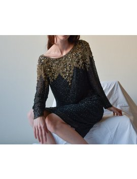 Black Gold Silk Beaded Cocktail Dress / Beaded Mini Party Dress / Us 8 / S / M / 2514d by Etsy
