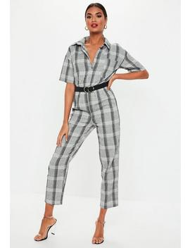 Grey Check Print Short Sleeve Jumpsuit by Missguided
