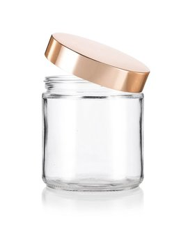 Large Clear Thick Glass Straight Sided Jar With Gold Metal Overshell Lid   16 Oz / 480 Ml (2 Pack) + Spatulas And Labels by Juvitus