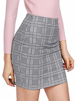 She In Women's Basic Stretch Plaid Mini Bodycon Pencil Skirt by She In