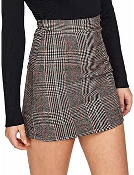 Floerns Women's Plaid High Waist Bodycon Mini Skirt by Floerns