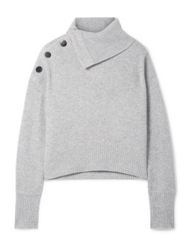 Oversized Button Embellished Cashmere Turtleneck Sweater by Le Kasha