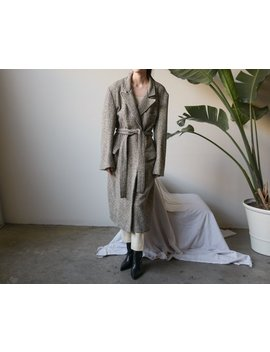 80s Oversized Wool Tweed Belted Coat / Double Breasted Coat / M / L / 2641o by Etsy