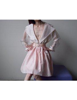 Light Pink Organza Taffeta Party Dress / Full Skirt Sheer Wrap Dress / Holiday Dress / M / L / Us 11 / Us 12 / 945d by Etsy