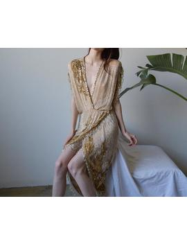 Bob Mackie Nude Gold Beaded Fringe Cocktail Gown / Deep V Party Dress / Plunging Neckline Couture Gown / S / 052d by Etsy
