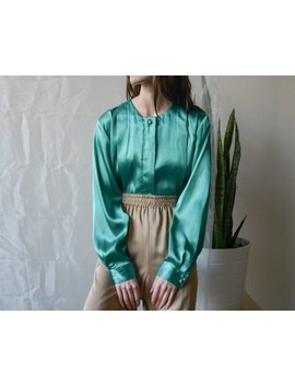 Green Satin Pleated Blouse / Silky Blouse  / M / Us 10 / 3661t by Etsy