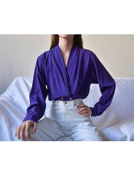 Purple Draped Deep V Blouse / Slouchy Wrap Blouse / Draped Minimalist Shirt / S / M / Us 12 / Us 14 / 3927t by Etsy