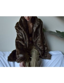 Dark Brown Faux Fur Coat / Chubby Short Coat / Short Faux Fur Jacket / S / 2451o by Etsy