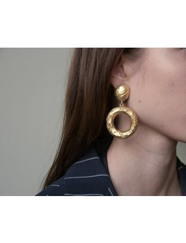 Oversized Gold Organic Drop Hoops / Large Statement Earrings / 2021a by Etsy