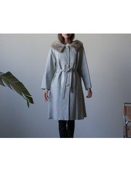 60s Silver Gray Leather Mod Coat / Mink Fur Collar Self Belt Coat / S / M / 2583o by Etsy