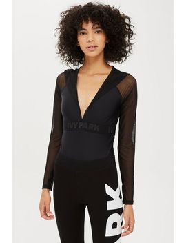 Drape Mesh Hooded Bodysuit By Ivy Park by Topshop