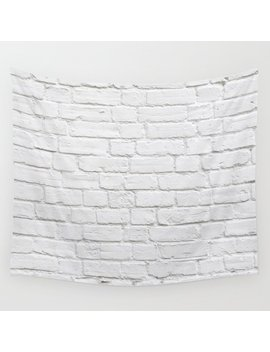White Brick Wall Wall Tapestry by