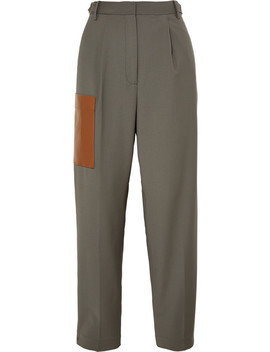 Tablier Faux Leather Trimmed Woven Pants by Tibi