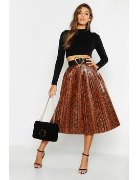 Snake Print Leather Look Pleated Midi by Boohoo