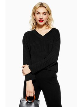 Black Ribbed Jumper And Trousers Set by Topshop