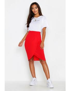 Petite Woven Wrap Front Midi Skirt by Boohoo