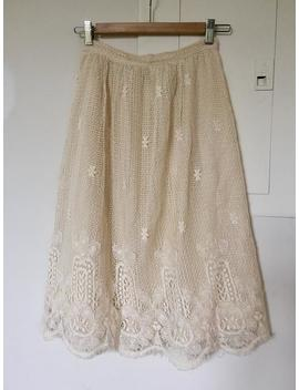 Vintage 1980s Ecru Intricate Lace Crochet Skirt Xs Small Cream Ivory by Etsy