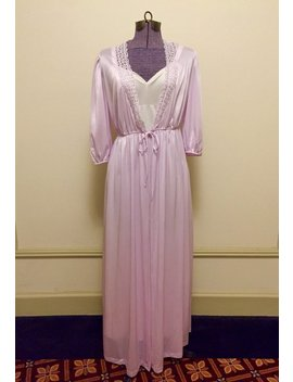 Vintage 1970s Val Mode Nylon Princess Dressing Gown   Loungewear Robe   Iced Lilac   Valentine's Day by Etsy