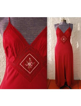 Vintage 1970s Merlot Maxi Nightgown   Emroidered Floral & Lace   Medium Valentine's Day by Etsy