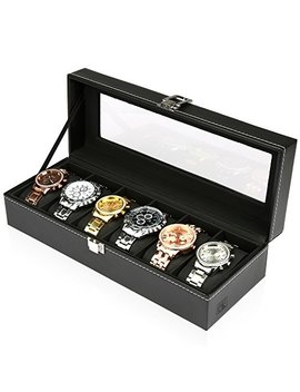 H&S® Glass Lid 6 Watch Jewellery Display Storage Box Case Bracelet Tray Faux Leather Black by H&S
