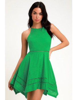 Catch Your Eye Green Skater Dress by Lulus