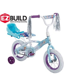 "Disney Frozen 12"" Girls' Ez Build Bike With Sleigh Doll Carrier, By Huffy by Huffy"