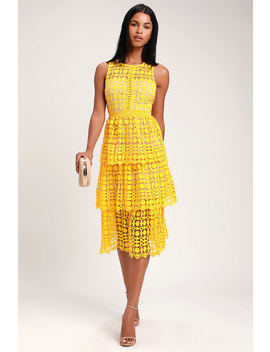Larissa Yellow Crochet Lace Sleeveless Midi Dress by Lulus