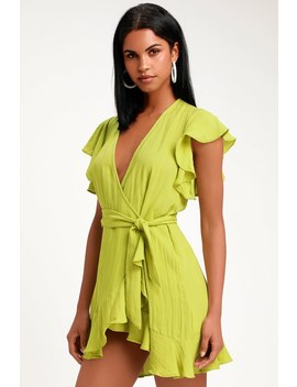 Sunny Days Ahead Lime Green Ruffled Wrap Dress by Lulus