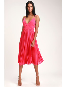 Take It From Me Fuchsia Pleated Wrap Midi Dress by Lulus